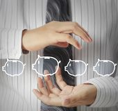 Touch virtual icon of social network. Hand touch virtual icon of social network Stock Photos