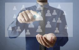 Touch virtual icon of social network. Hand touch virtual icon of social network Royalty Free Stock Photo