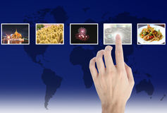Hand touches the flow of images Royalty Free Stock Photography