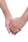 Hand touches hand on white background. Royalty Free Stock Photo
