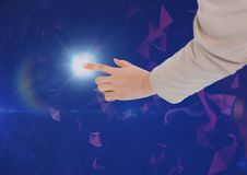Hand touching the air with glow. Digital composite of Hand touching the air with glow Stock Photography