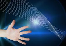 Hand touching the air with glow. Digital composite of Hand touching the air with glow Stock Photos