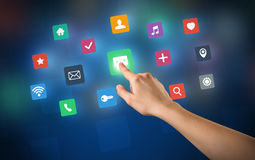 Hand touching apps Royalty Free Stock Photography