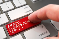Hand Touching Article Submission Service Keypad. 3D. Business Concept - Male Finger Pointing Red Article Submission Service Key on White Keyboard. 3D Royalty Free Stock Images