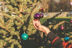 Hand touching bauble on christmas tree outside Stock Images