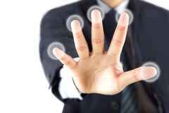 Hand touching blank buttons Stock Image