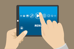Hand touching blank screen of tablet computer,Eps 10 vector illu Stock Image