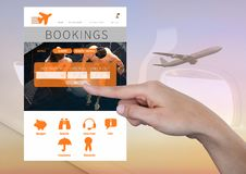 Hand Touching Bookings Holiday break App Interface with airplane Stock Image