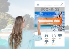 Hand Touching Bookings Holiday break App Interface with swimming pool Royalty Free Stock Image