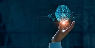 Free Hand Touching Brain Of AI, Symbolic, Machine Learning, Artificial Intelligence Of Futuristic Technology. AI Network Of Brain Stock Photography - 197013452