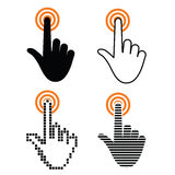 Hand with touching a button Stock Images