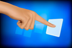 Hand touching a button. Solution concept. Stock Photography
