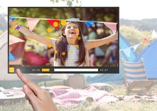 Hand touching Camping festival fun video player App Interface Royalty Free Stock Photography