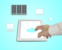 Hand touching cloud icon on tablet, cloud computing concept Stock Photos