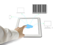 Hand touching cloud icon on tablet for connecting to cloud compu Royalty Free Stock Photo