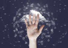 Hand touching connecting model against cloud Stock Photo