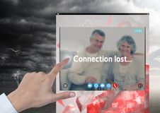 Hand touching Connection lost storm for Social Video Chat App Interface Royalty Free Stock Photos
