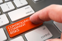 Hand Touching Controlling Company Risks Key. 3D. Royalty Free Stock Images