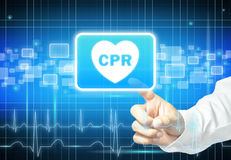 Hand touching CPR sign on virtual screen Stock Photography