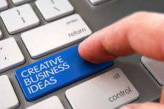 Hand Touching Creative Business Ideas Keypad. 3D. Royalty Free Stock Photography