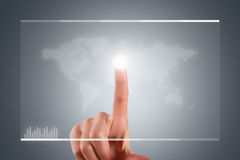 Hand Touching on Digital Screen Interface Royalty Free Stock Images