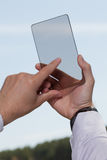 Hand touching digital tablet, social media concept Stock Image