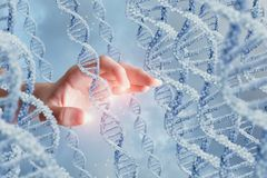 Hand touching DNA molecules . Hand touching DNA molecules on a blue background royalty free stock photography