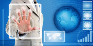 Hand touching fingerprint scanner in interface. Female hand in suit touching fingerprint scanner on virtual interface of identification system Stock Photos