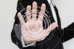 Hand touching futuristic interface screen. Futuristic technology concept Stock Photography