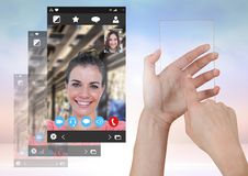 Hand touching glass screen with Social Video Chat App Interface. Digital composite of Hand touching glass screen with Social Video Chat App Interface Stock Image