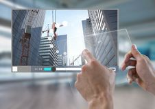 Hand touching glass tablet City Video Player Architecture App Interface. Digital composite of Hand touching glass tablet City Video Player Architecture App vector illustration