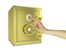 Hand touching the gold safe. Isolated on white background. safety concept Stock Photography