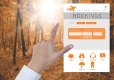 Hand Touching holiday break App Interface in forest Stock Image