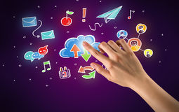 Hand touching icons Stock Photography