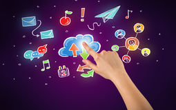 Hand touching icons Royalty Free Stock Photo