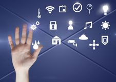 Hand touching icons interface of internet of things Royalty Free Stock Photos