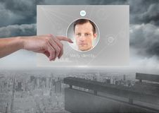Hand Touching Identity Verify App Interface. Digital composite of Hand Touching Identity Verify App Interface Stock Photos