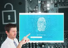 Hand Touching Identity Verify security fingerprint App Interface. Digital composite of Hand Touching Identity Verify security fingerprint App Interface Stock Photo