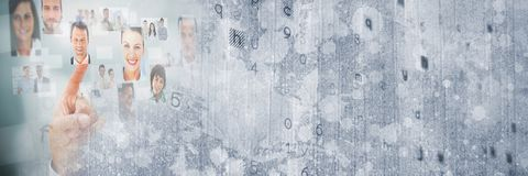 Hand touching images of faces with grey texture transition_0014 stock photos