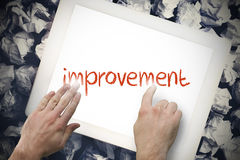 Hand touching improvement on search bar on tablet screen Stock Photography