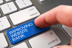 Hand Touching Improving Website Rank Key. 3d. Mans Finger Pressing Blue Improving Website Rank Key on Modern Laptop Keyboard. 3D Illustration Royalty Free Stock Images