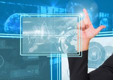 Hand touching and interacting with technology interface panels Stock Image