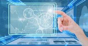 Hand touching and interacting with technology interface panels. Digital composite of Hand touching and interacting with technology interface panels Royalty Free Stock Images