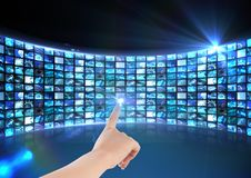 Hand touching interface screen Royalty Free Stock Photo