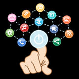 Hand touching internet sign with social media. Icons Royalty Free Stock Photo