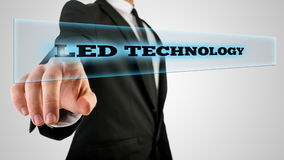 Hand Touching Led Technology Box on Touch Screen Stock Images