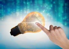 Hand Touching Light bulb fingerprint Stock Photo
