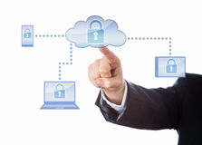 Hand Touching A Locked Cloud Computing Network Stock Image
