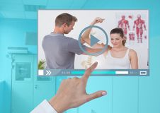 Hand touching Medical Doctor Video Player App Interface Royalty Free Stock Images
