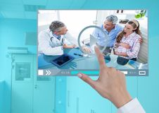 Hand touching Medical Doctor Video Player App Interface. Digital composite of Hand touching Medical Doctor Video Player App Interface Royalty Free Stock Image